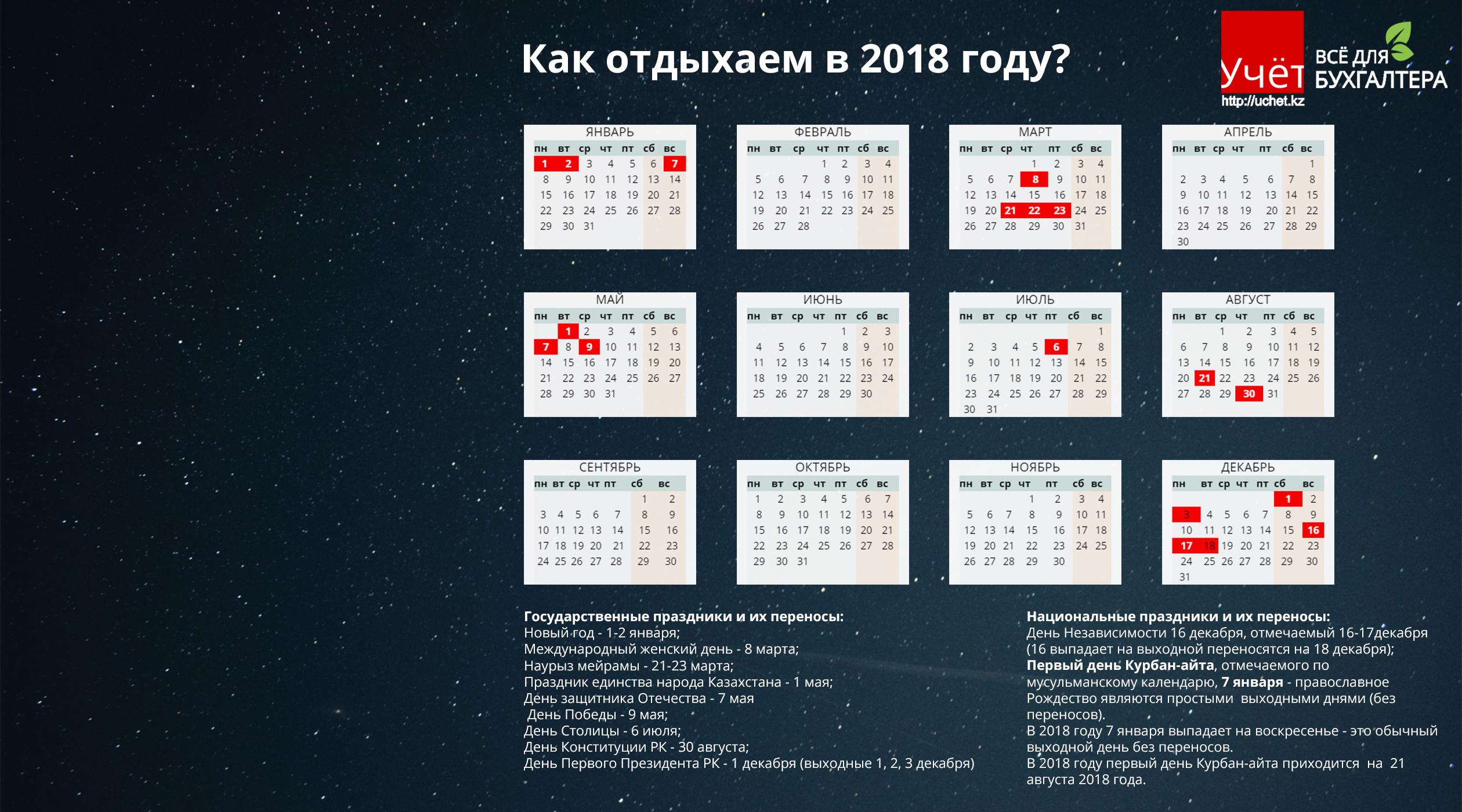 Крупные праздники в этом году